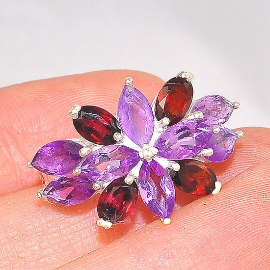 Sterling Silver India Amethyst and Garnet Starburst Ring