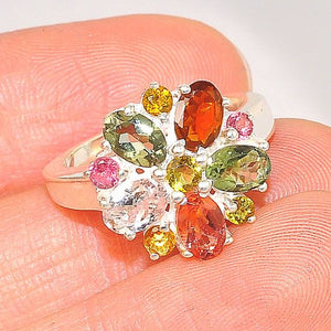 Sterling Silver India Multicolored Tourmaline Small Flower Ring