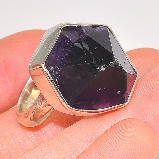 Sterling Silver Amethyst Oversized Crystal Ring