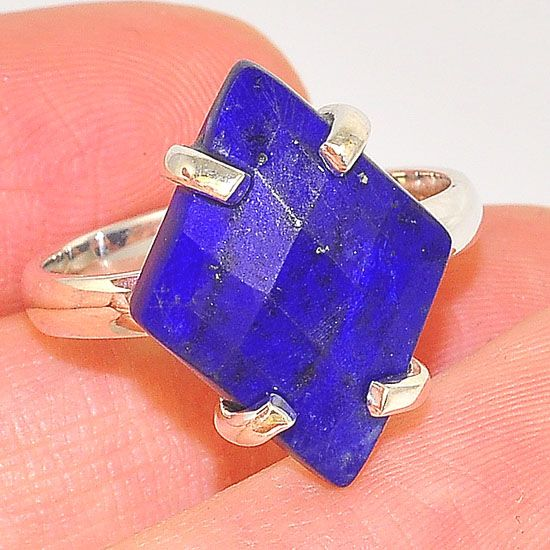 Sterling Silver Diamond Shaped Lapis Lazuli Faceted Ring