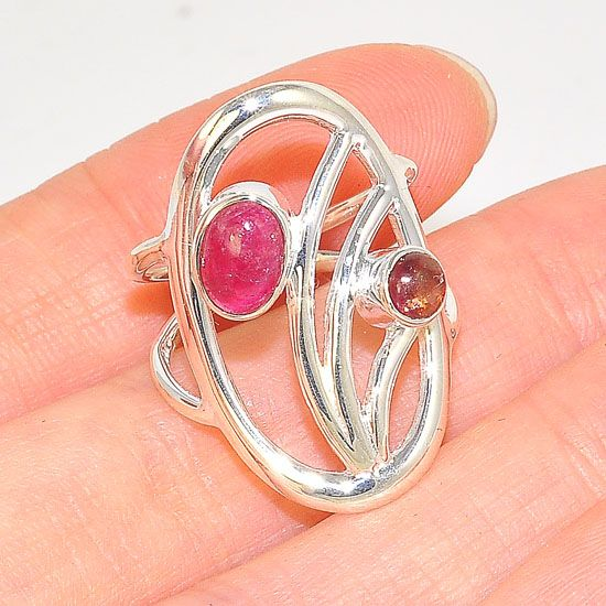 Sterling Silver Oval Design Pink Tourmaline Ring