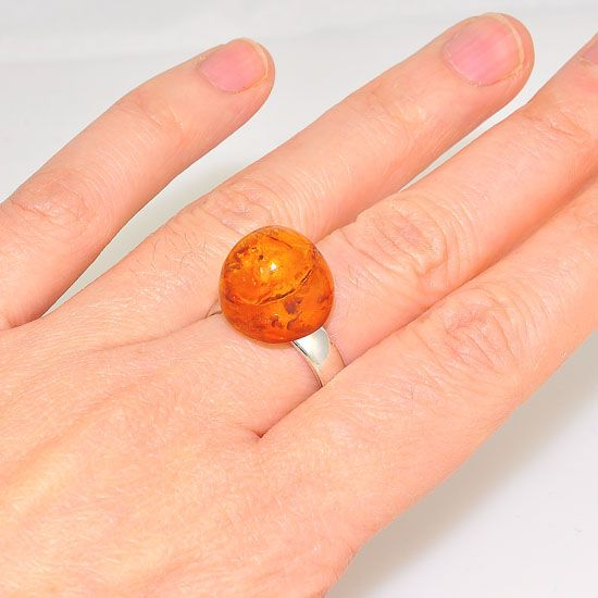 Sterling Silver Baltic Honey Amber Gumdrop Ring
