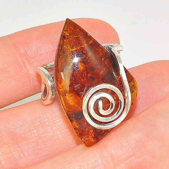 Sterling Silver Baltic Honey Amber Scroll Wire Ring