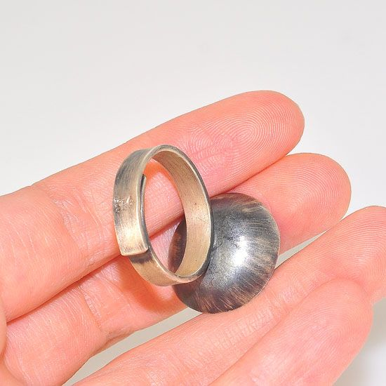 Oxidized Sterling Silver Blooming Rose Centered Bowl Medallion Ring