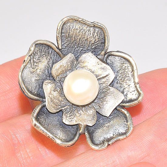Oxidized Sterling Silver Pearl Centered Bloomed Flower Ring