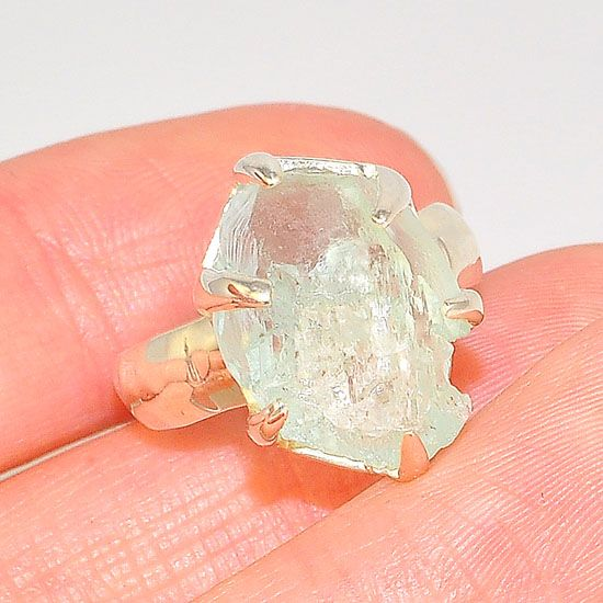 Sterling Silver Aquamarine Crystal Nugget Ring