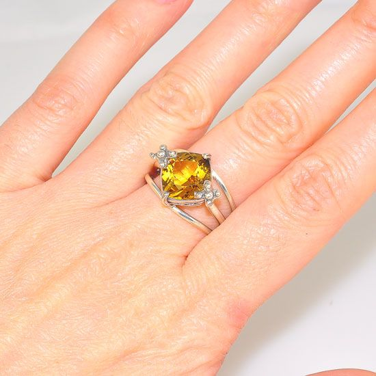 Sterling Silver Diamond Shaped Citrine Triple-Band Ring
