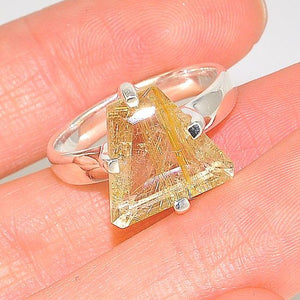 Sterling Silver Rutilated Quartz Pyramid Triangular Ring