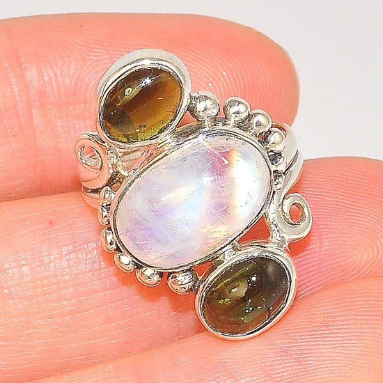 Sterling Silver Moonstone and Tourmaline Trio Design Ring