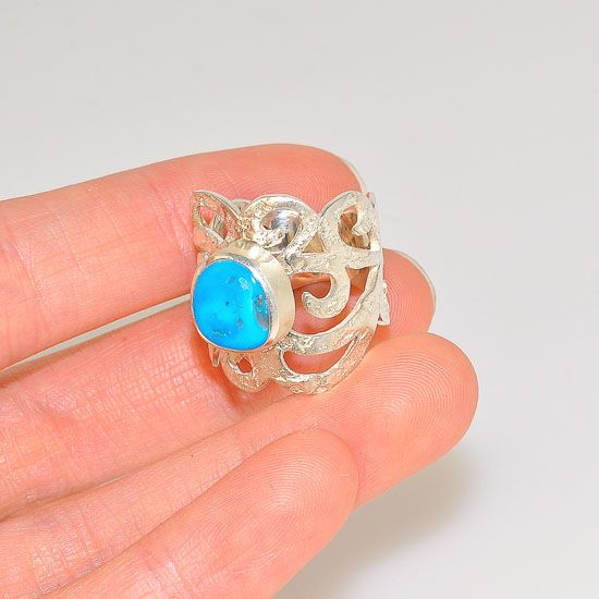 Sterling Silver Romantic Vintage Scroll Band Sleeping Beauty Turquoise Ring