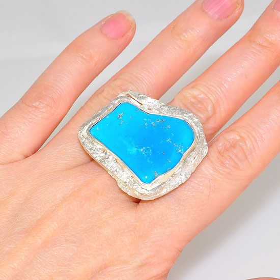 Sterling Silver Unique Hammered and Texture Framed Sleeping Beauty Turquoise Ring