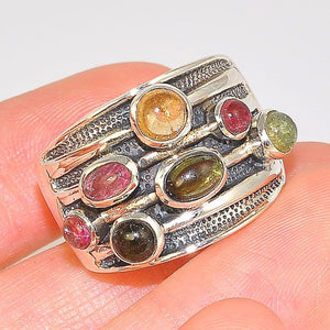 Sterling Silver Multicolored Tourmaline Industrial Style Front Grill Chunky Ring