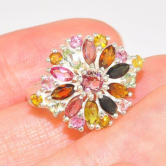Sterling Silver India Multicolored Tourmaline Flower Design Ring