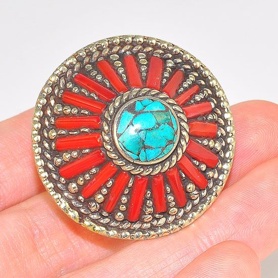 Silver Plated Tibetan Turquoise and Coral Bar Medallion Cone Ring (Size 8.5)