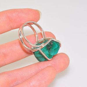 Sterling Silver Malachite Nugget Cluster Rock Ring