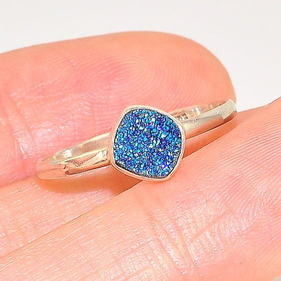 Sterling Silver Delicate and Petite Brilliantly Blue Druzy Ring