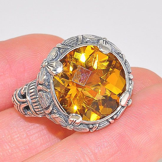 Sterling Silver Vintage Design Citrine Medallion Power Ring