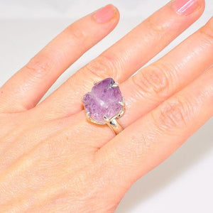 Sterling Silver Amethyst Crystal Prong Ring