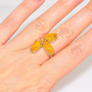 Sterling Silver Baltic Honey Amber Eccentric Marquise Cluster Ring