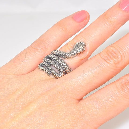 Sterling Silver Tibetan Carved Coiled Snake Ring