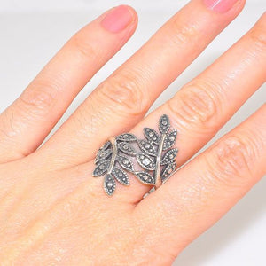 Sterling Silver Carved Duo Italian Grape Leaf Design Ring