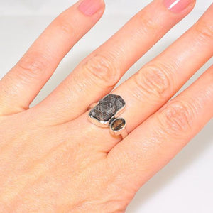 Sterling Silver Meteorite Nugget and Smokey Quartz Duet Ring