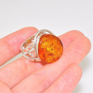 Sterling Silver Baltic Honey Amber Wire Encircled Ring