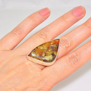 Sterling Silver Baltic Honey Amber Design Ring