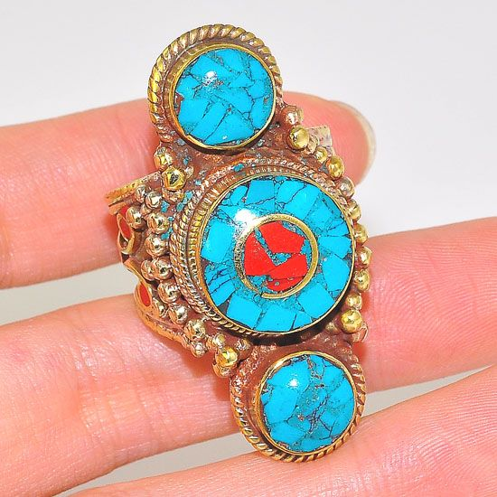 Brass Tibetan Turquoise and Coral Trio Design Ring (Size 10)