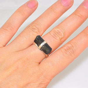 Sterling Silver Black Tektite Crystal Ring