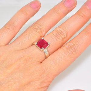 Sterling Silver Sophisticated Ruby Square Cut Ring