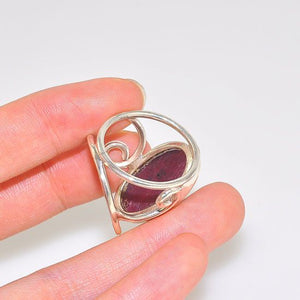 Sterling Silver Romantic Ruby Oval Cuff Ring