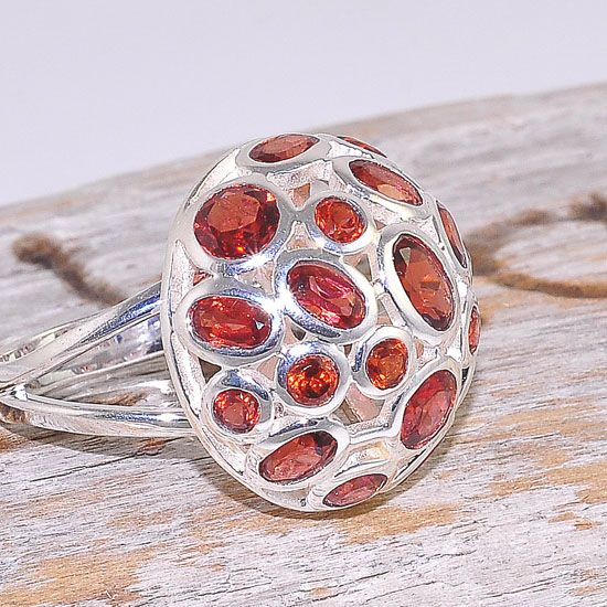Sterling Silver Faceted Garnet Jeweled Bubble Medallion Ring