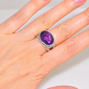 Sterling Silver Amethyst Oval Faceted Gemstone and Braided Band Ring (Size 5.5)