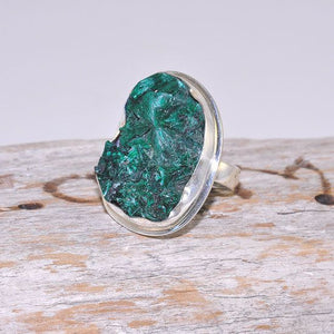 Sterling Silver Rough Malachite Crystal Oval Ring