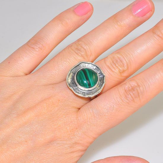 Oxidized Sterling Silver Malachite Medallion Ring