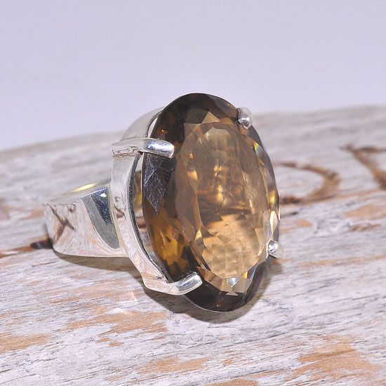 Sterling Silver Oval Smokey Quartz Gemstone Ring