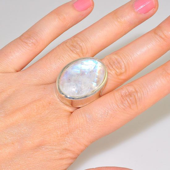 Sterling Silver Oval Moonstone Gem Ring