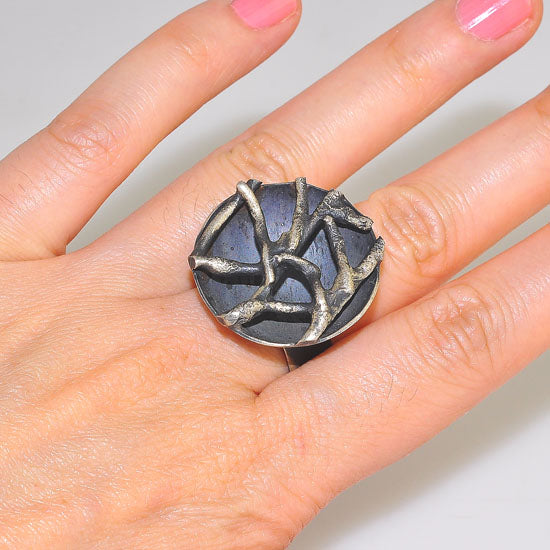 Oxidized Sterling Silver Bowl Waffle Medallion Ring