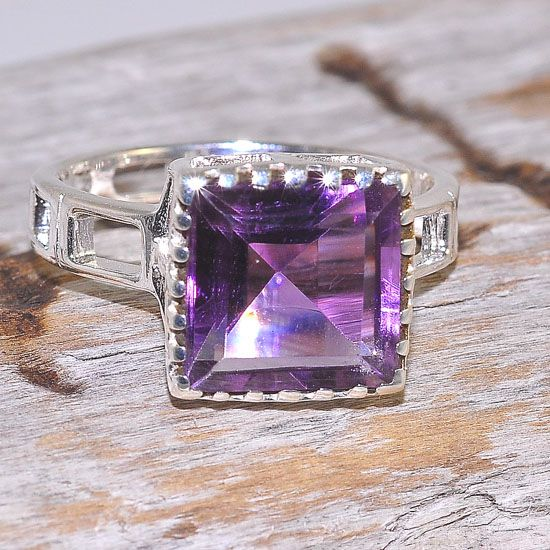 Sterling Silver Beautiful Square Cut Amethyst Ring
