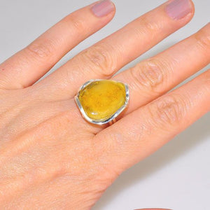 Sterling Silver Baltic Butterscotch Amber Gemstone Ring