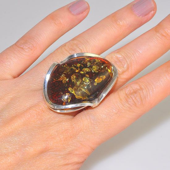 Sterling Silver Baltic Honey Amber with Green Flecks Gemstone Ring