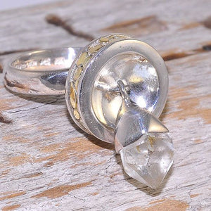 22K Gold Over Sterling Silver Clear Quartz Crystal Ring