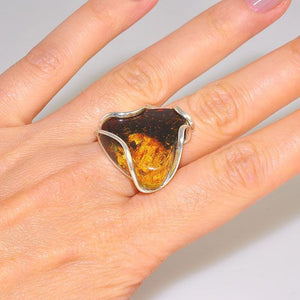 Sterling Silver Baltic Honey Amber Triangle Ring
