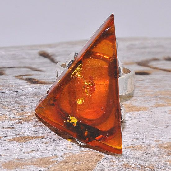 Sterling Silver Baltic Honey Amber Triangular Ring