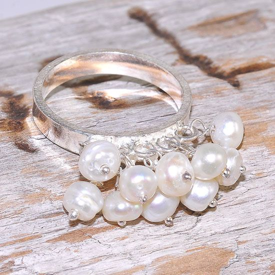 Sterling Silver India Pearl Cluster Design Ring