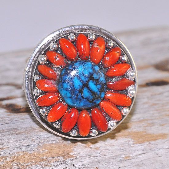 Sterling Silver Tibetan Coral and Turquoise Flower Ring