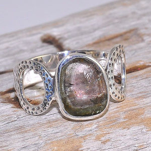 Sterling Silver Watermelon Tourmaline Bubble Band Ring