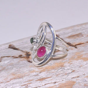Sterling Silver Oval Design Pink and Green Tourmaline Ring