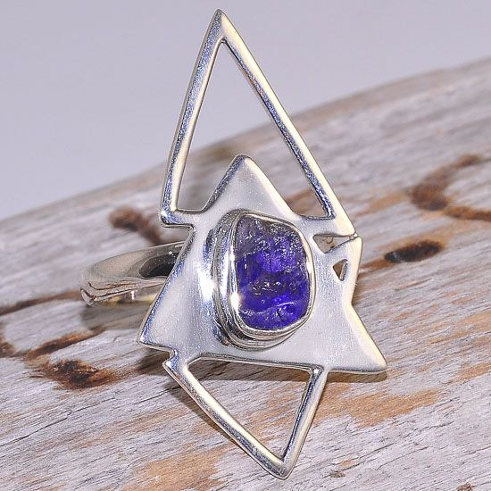 Sterling Silver Tanzanite Unique Pyramid Chaos Ring